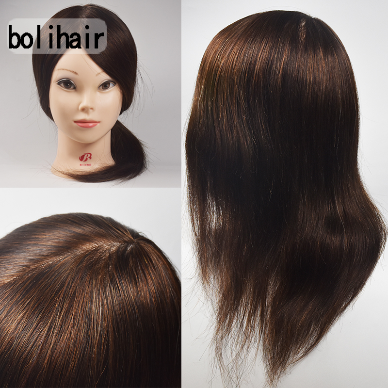 Wholesale 16″ Hairdressing 100% Real Human Hair Training Head Cosmetology Mannequin Head Female Free Shipping Training Head