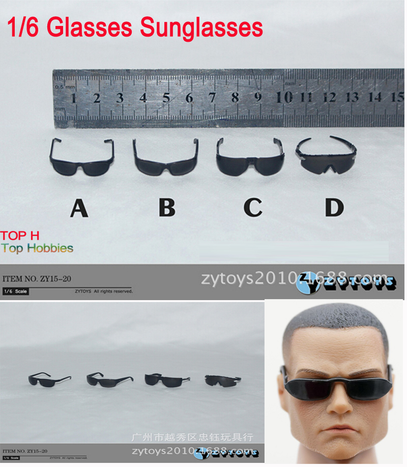 ZCTOYS 15-20 4PCS/Set Black Sun Glasses For 1/6 Scale Male/Man 12 Inch Phicen Action Figure Accessory 1:6 Model HT Toy Dolls 2pcs mini water bucket prop model for 1 6 scale male 12 action figure 1 6 army phicen toy doll in store