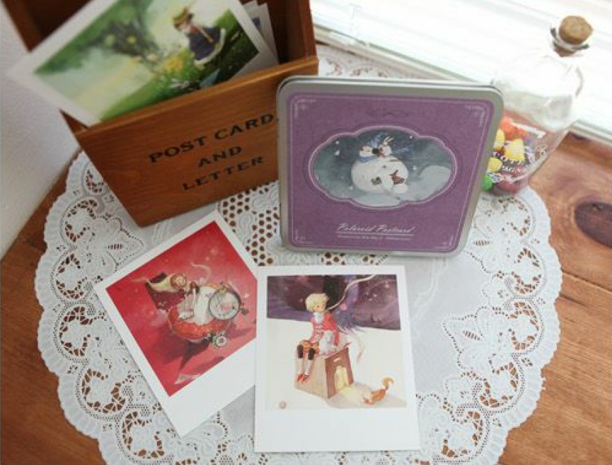 Hot selling Business cards casual style cute promotion kawaii novelty . DIY Polaroid IV Postcard Tin Box set . (15 pcs post car