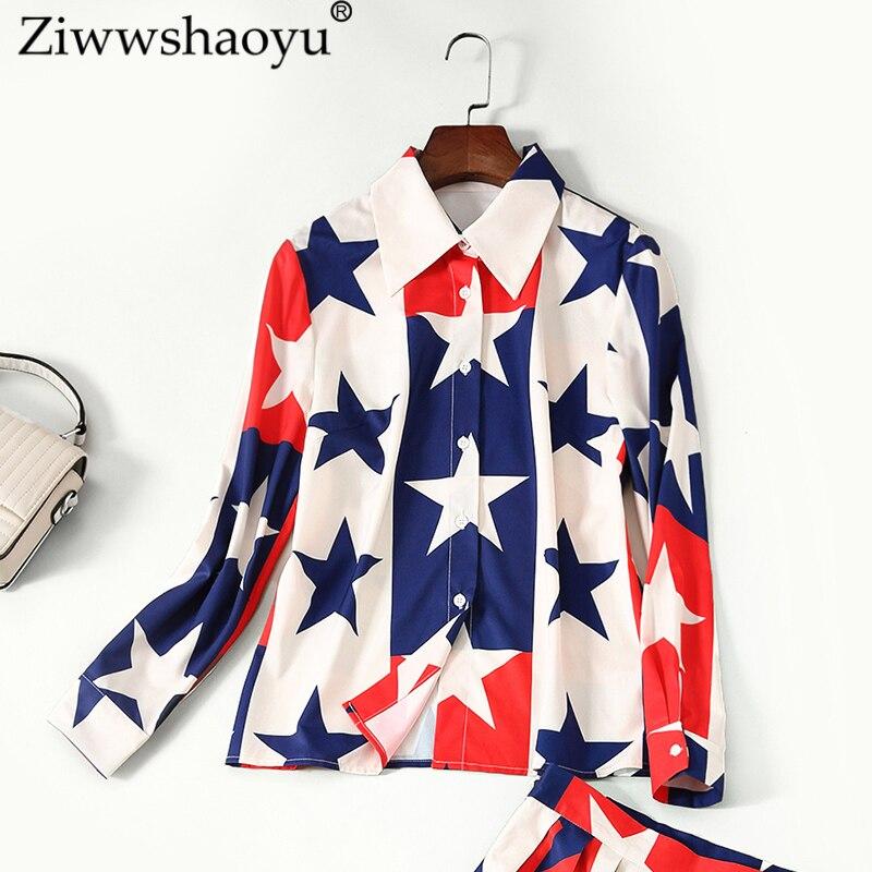 Prairie 2108 Ziwwshaoyueurope Multi Imprimer Automne Nouvelle jupe Pièce Deux Turn Les unis Costume Chic Collar Plissée Et Demi down États xwxSBqRf