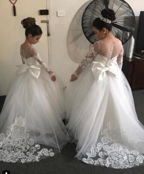 White ivory ball gown Long sleeves sheer lace sweetheart flower girl dresses for wedding and party
