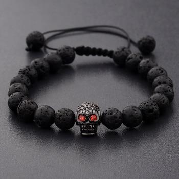 Bracelet style black skull crane noire