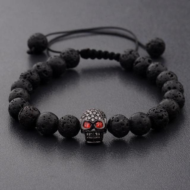 Bracelet Homme Pierre de lave naturelle Noir