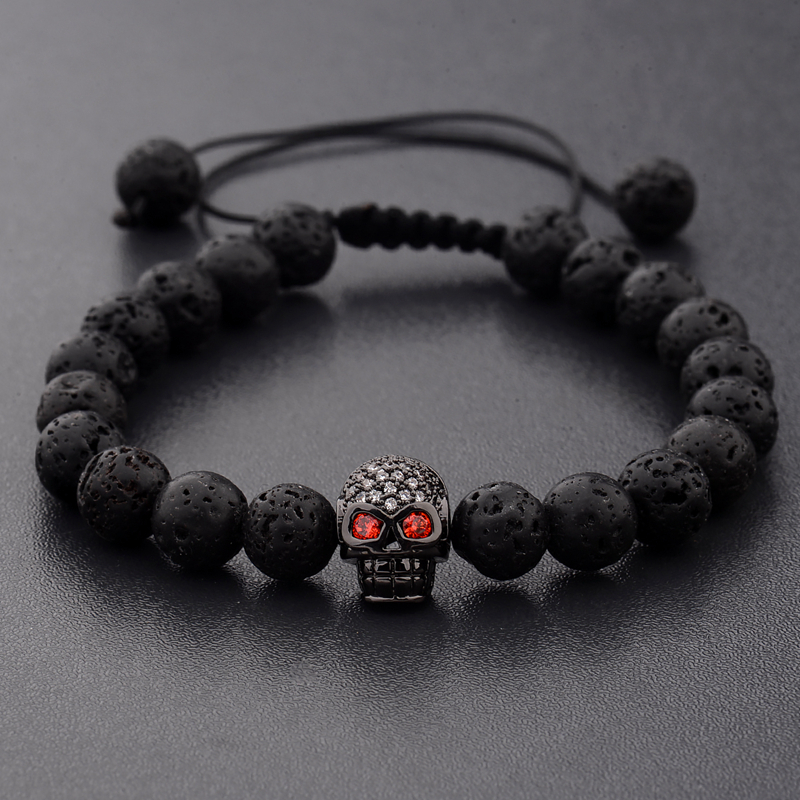 DOUVEI New White CZ Skeleton Black Natural Lava Stone Beads Bracelet 3 Colors Men Rope Chain Bracelet Homme For Women ABL001