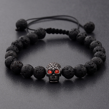 DOUVEI New White CZ Skeleton Black Natural Lava Stone Beads Bracelet 3 Colors Men Rope Chain Homme For Women ABL001