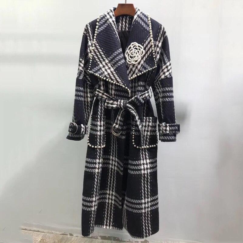 Femmes Longue Mélanges Manteau Automne Élégant Col Rabattu À Manches Longues Manteau 2018 Mode Perles Manteau