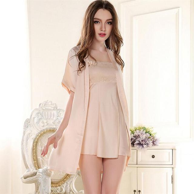 Robe Sets Imitated Silk Women Pajamas Sets  Hot Sales Women Robe & Sets For Girls Nightgown