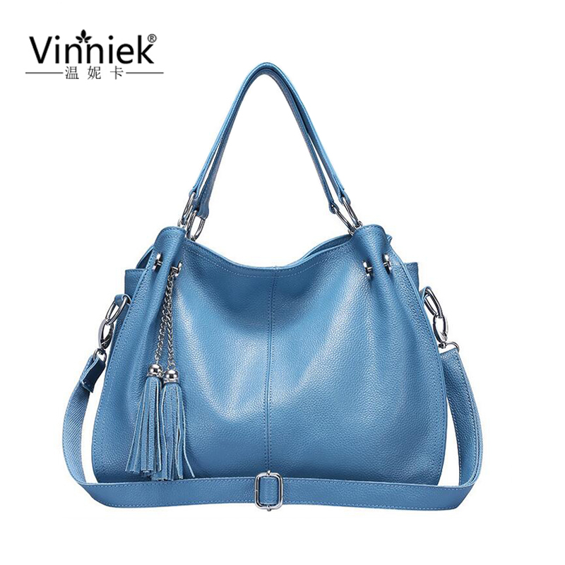 High Quality 100% Genuine Leather Female Shoulder Bag Luxury Handbags Women Bags Designer Tassel Large Famous Brand Casual Totes 2016 new hot luxury plaid women bags handbags high quality leather bags for women shoulder bag famous brand chain shell bag