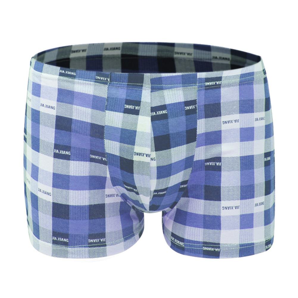 Breathable Men Underwear Grid Boxer Fashion Underpants Soft Outfits