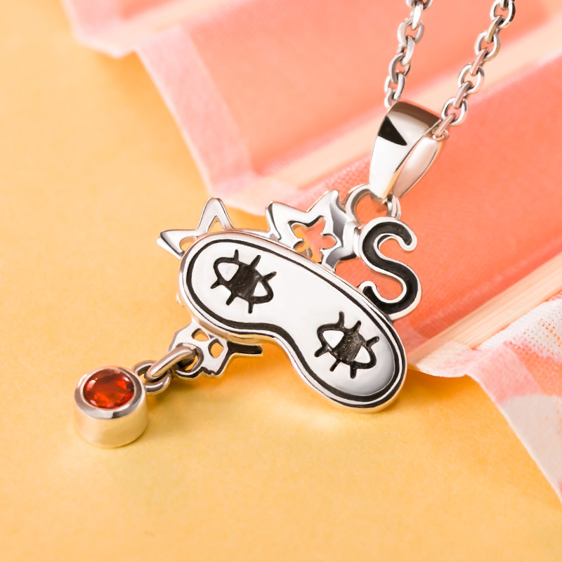 [Gintama] Anime Necklace 925 sterling silver Okita Sougo Eye Mask Comics Character Pendant Action figure cosplay Gift 4