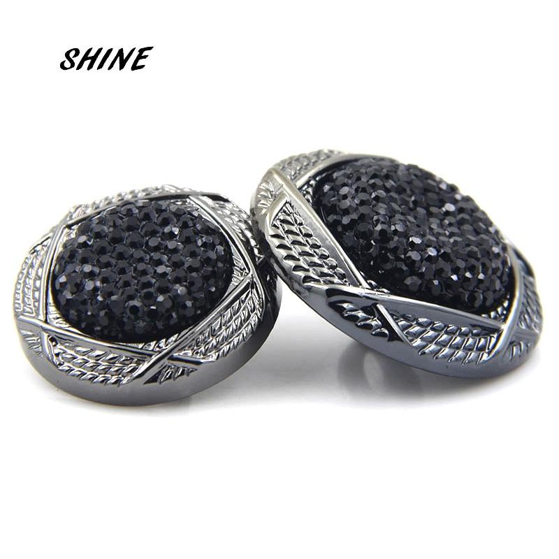 SHINE Acrylic Sewing Buttons Scrapbooking Round Black Imitation Ore Rhinestone 25\30mm Dia. 6PCs Costura Botones Decorate