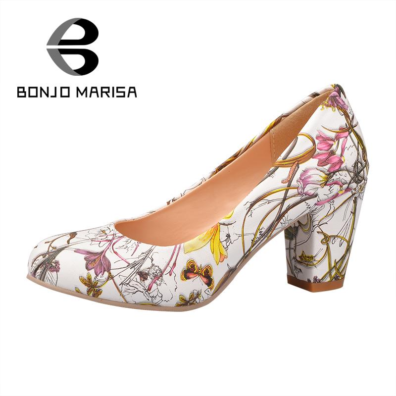 ФОТО Big Size 31-43 2015 New Arrival Shoes Round Toe Less Platform Female Pumps Floral More Colors Autumn Med Square Heel Shoes