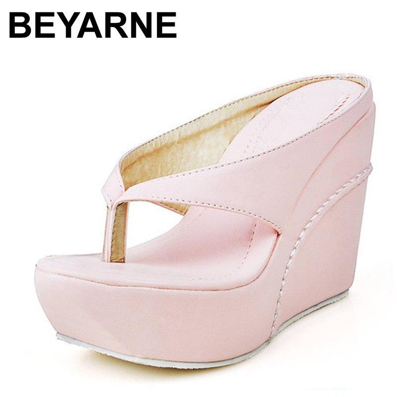 BEYARNE Plus Size 34-45 Hot High Heels Women Flip Flops Summer Sandals Platform Wedges Slippers Girl's Fashion Beach Shoes