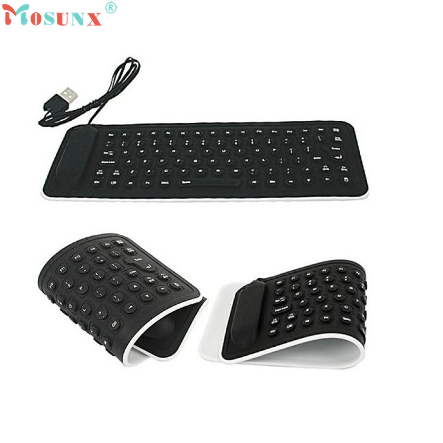 Adroit Portable USB Mini Flexible Silicone PC Keyboard Foldable for Laptop Notebook Black DEC31