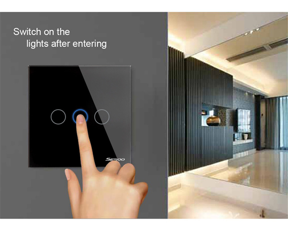EUUK Standard SESOO Touch Switch 3 Gang 1 Way,Crystal Glass Switch Panel,Fireproof Wall Light Touch Switch,2 Year Warranty-1