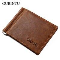 GUBINTU Brand Men Genuine Leather Bifold ID Credit Card Holder Purse Billfold Wallet Money Clip