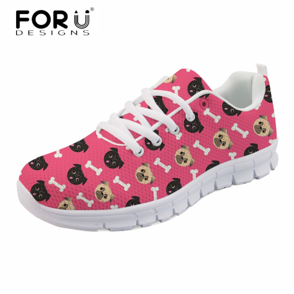 FORUDESIGNS Cartoon Cute Dog Students Casual Sneakers Flats Stylish Women Comfortable Light Lace Up Shoes Breathable Walk Shoes women breathable mesh zapatillas shoes women cute style hollow out sneakers students antislip breathable casual shoes wild flats