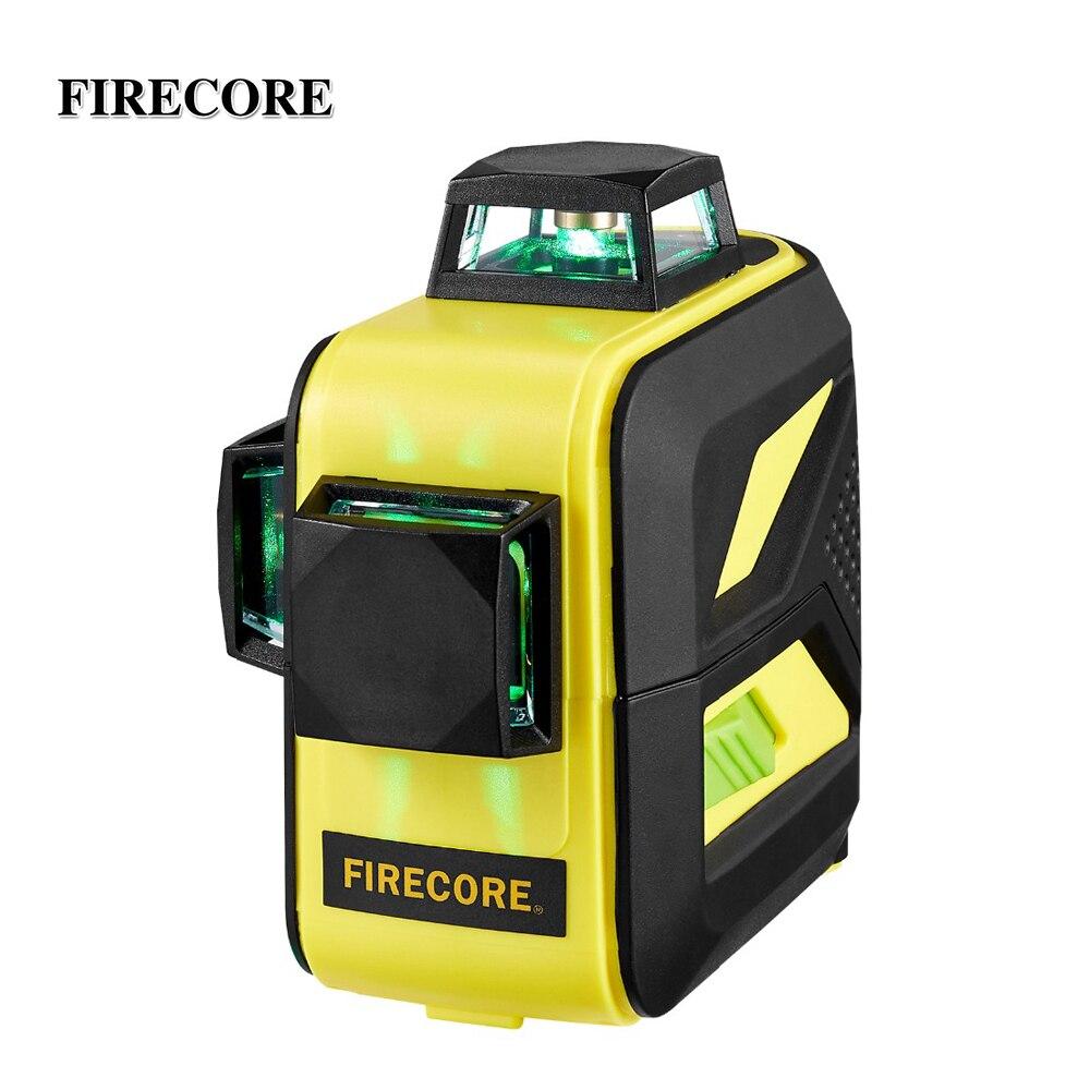 Firecore F93T-XG 12 linhas 3d laser verde nível lr6/bateria de lítio auto-nivelamento horizontal & vertical linhas transversais pode usar receptor