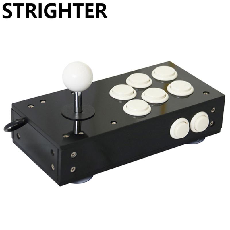 Prix pour Mini usb arcade joystick pour pc jeu 8 boutons tous noir pc contrôleur Jeu d'ordinateur Matériel portable Joystick Consoles cadeau