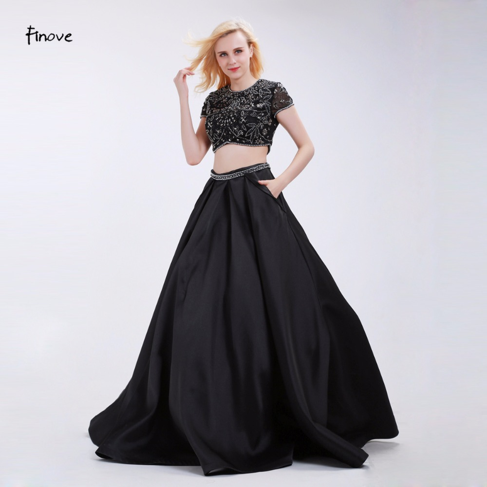 Finove Black Prom Dresses Two Piece Set Fashion Beading Crop Top Skirt with Pockets 2019 New