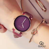 GUOU Brand Women Watches Big Dial Simplicity Classic Fashion Casual Clock Quartz Watch High Quality Montre