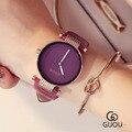 GUOU Брендовые женские часы с большим циферблатом, простые классические модные повседневные часы, кварцевые часы высокого качества Montre Femme