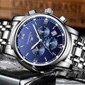 Мужские автоматические часы GUANQIN  деловые водонепроницаемые механические наручные часы из нержавеющей стали