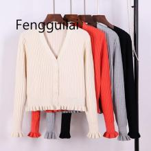 Sexy V Neck Women Cardigan Sweater Ribbed Knitted Tops Ruffled Cute Girls Coat Spring Autumn Jacket Sweaters