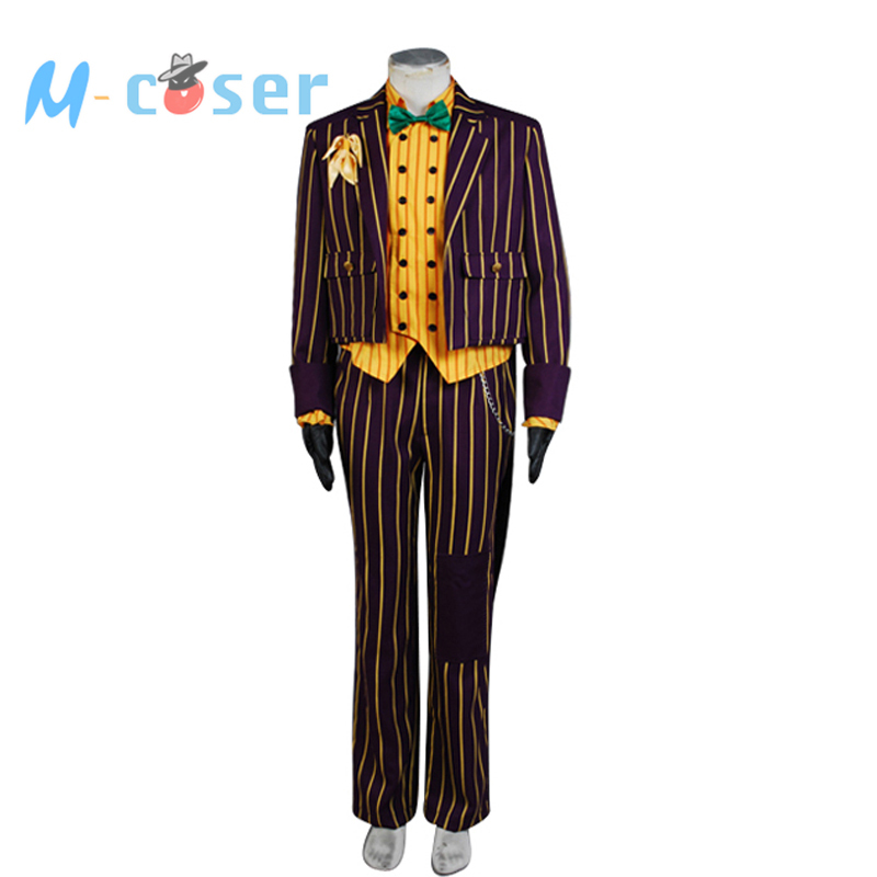 Batman Arkham Asylum Joker Cosplay Costume Dark Purple Jacket Coat Suit Men Suit Halloween Party Costume Full Set
