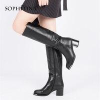 SOPHITINA/зимние женские сапоги из натуральной кожи, модные сапоги до колена на молнии с круглым носком, элегантные сапоги на очень высоком квад