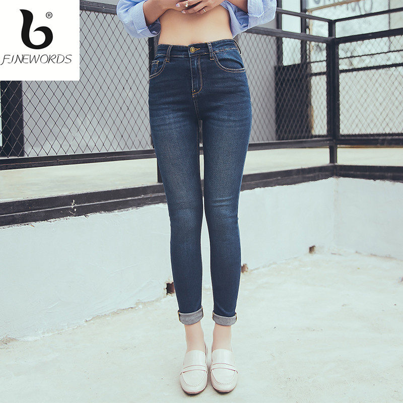 FINEWORDS Back Pocket Embroidery Elasticity Skinny Jeans Woman Push Up Denim Pant Legging Cruling Plus Size