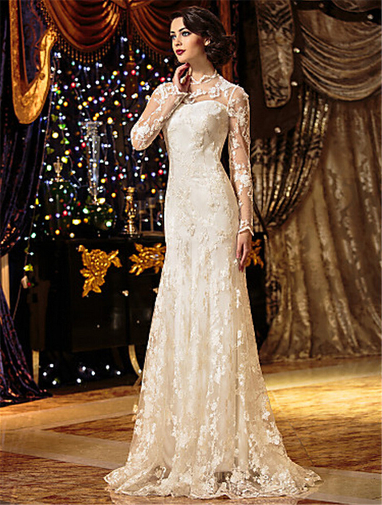 2017 Vintage Ivory Lace Wedding Dresses On Long Sleeves High Neck Dress Bride Floor Length Gowns Robe De Mariage In From