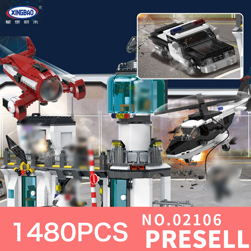 XingBao 02106 1480Pcs Toys City Series The Police Station Escape Set Model Building Blocks Bricks Toys For Kids Christmas Gifts kaygoo building blocks aircraft airplane ship bus tank police city military carrier 8 in 1 model kids toys best kids xmas gifts