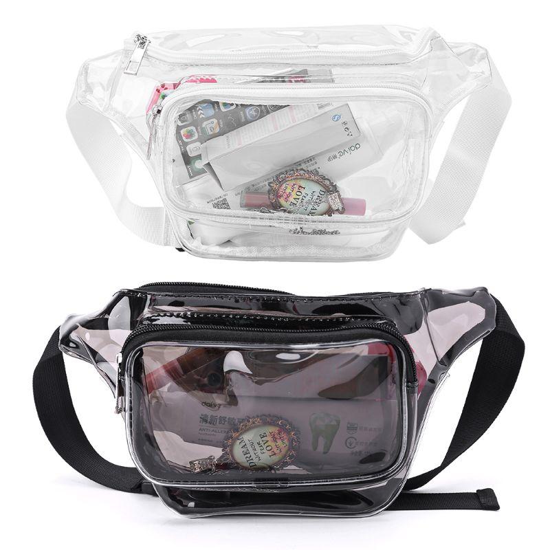 Transparent PVC Phone Pouch Purse Women Waist Bag Fanny Hip Pack Chest Travel Clear Wallet