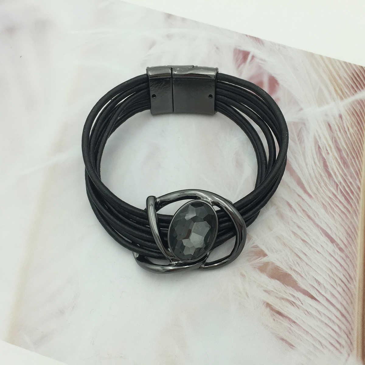 Duży kryształ szlachetny luksusowa bransoletka dla kobiet proste wygodne magnetyczne Tube Bar zapięcie bransoletka 2018 nowych moda biżuteria