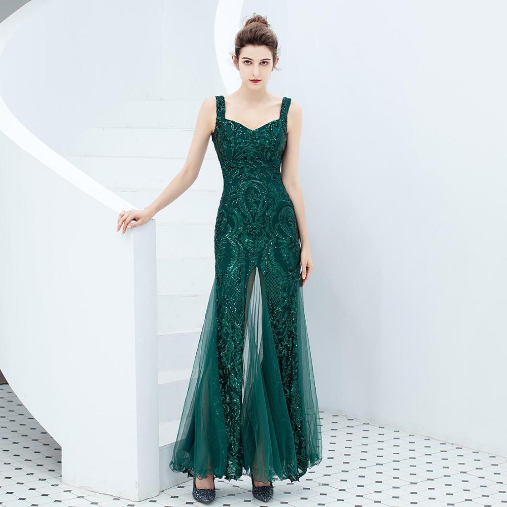 Corzzet élégant vert pailleté Sexy maille Spaghetti sangle col en V longue sirène mince luxe formel bal femmes robe d'été 2019