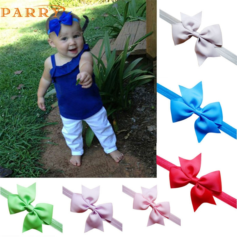 PARRY Best seller Drop ship Kids Girl Baby Headband Toddler Lace Bow Flower Hair Band Accessories Headwear baby hair accessories fashion bow dot hair sticker magic paste post fabric flower rabbit mini bb girl headband hair comb accessories 6pcs jewelry gift
