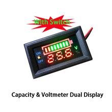Цифровой вольтметр, устройство для измерения емкости свинцово кислотных аккумуляторов 2S/3S, 12 В/24 В/48 В, два дисплея