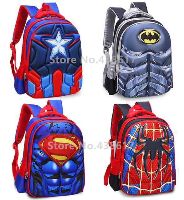 a583ab64eb 3D Spiderman Captain America Superman Iron Man Batman Backpack School Bags  for Boys Children Elementary Primary