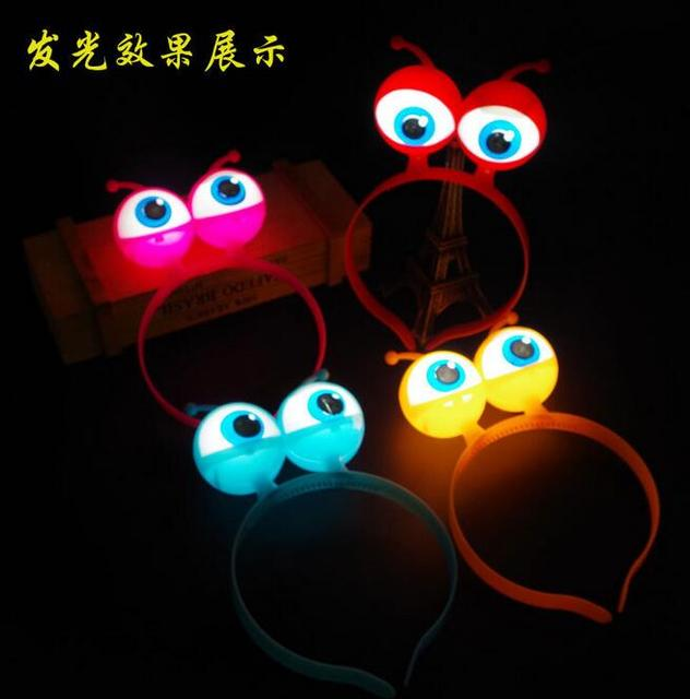 Cool Alien Eyes Ears Light Up Bow Headbands Flashing Led Party Favors Decorations Hair Glow