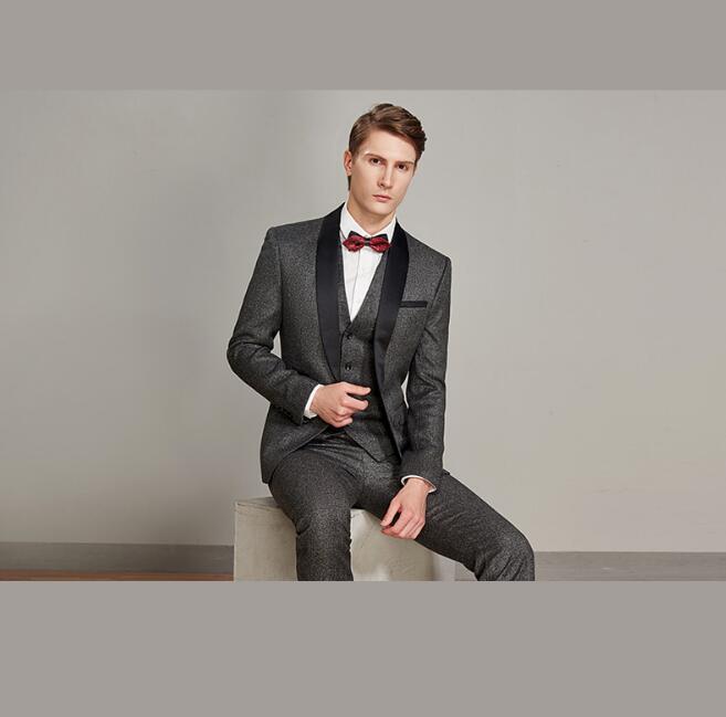 S-4XL 2019 New Slim Suits Costumes Men's Business Casual Suit Dress Banquet Dress Suit Three-piece Suit Plus Size Men Clothing