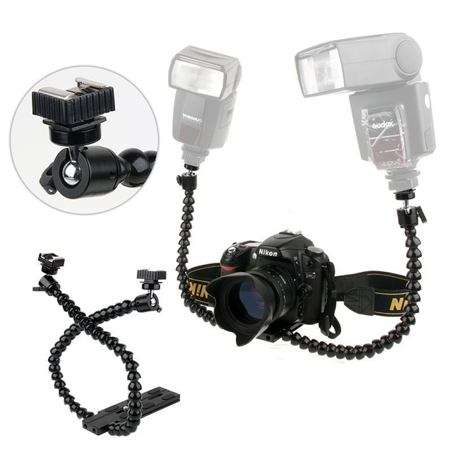 Flexible Macro Shooting Dual-arm Shoe  Double Bracket for Flash for Canon Nikon Panasonic  Sony  for Camera Photography Studio