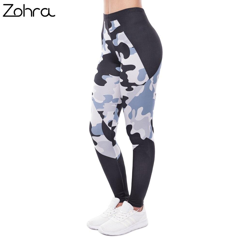 Zohra Elegant Women High Waist   Legging   Camo Black Triangles Printing Fitness   Leggings   Fashion Woman Pants