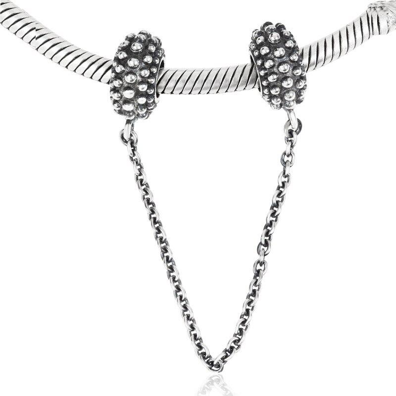 Аутентичные 100% стерлингового серебра 925 безопасный цепь бусы для изготовления ювелирных изделий DIY Подходит Pandora Подвески Браслеты