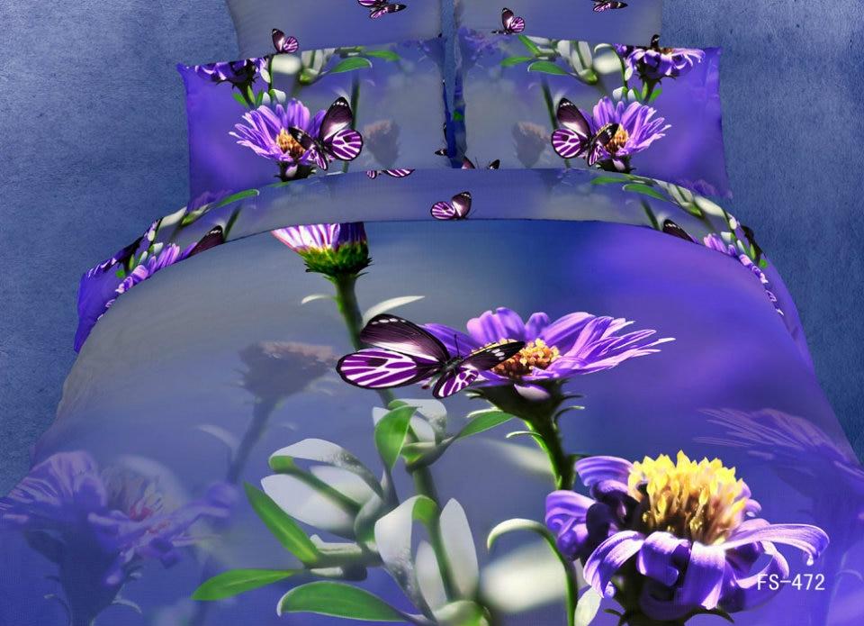 3d Purple Butterfly Blue Girls Bedding Set Queen Size For