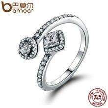 BAMOER 100% 925 Sterling Silver Round & Square Deslumbrante CZ Anillo de Dedo Abierto para Las Mujeres Wedding Engagement Joyería Anel PA7626