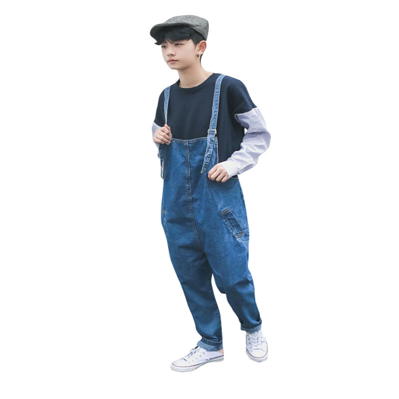 2017 New Blue Denim Overalls Men Harem Bib Jeans One Piece Jean Loose Jumpsuits For Mens Cotton Suspender Pants Couple style 2017 new women s denim bib pants spring and autumn overalls skinny fit plus size one piece jumpsuits trousers