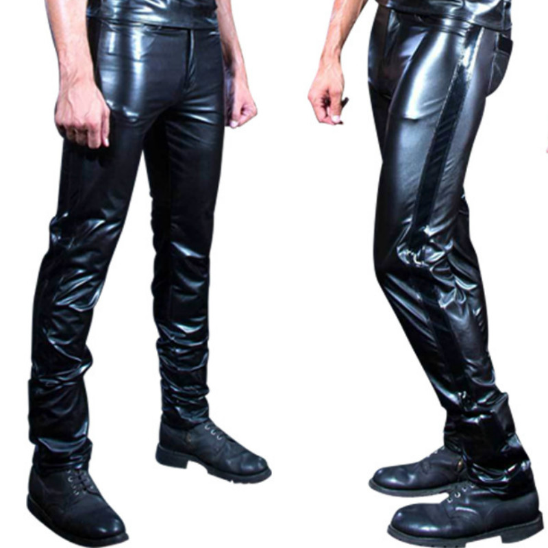 New Mens Elastic Leather Pants Faux Leather Pu Material Black Motorcycle Skinny Faux Leather Pants