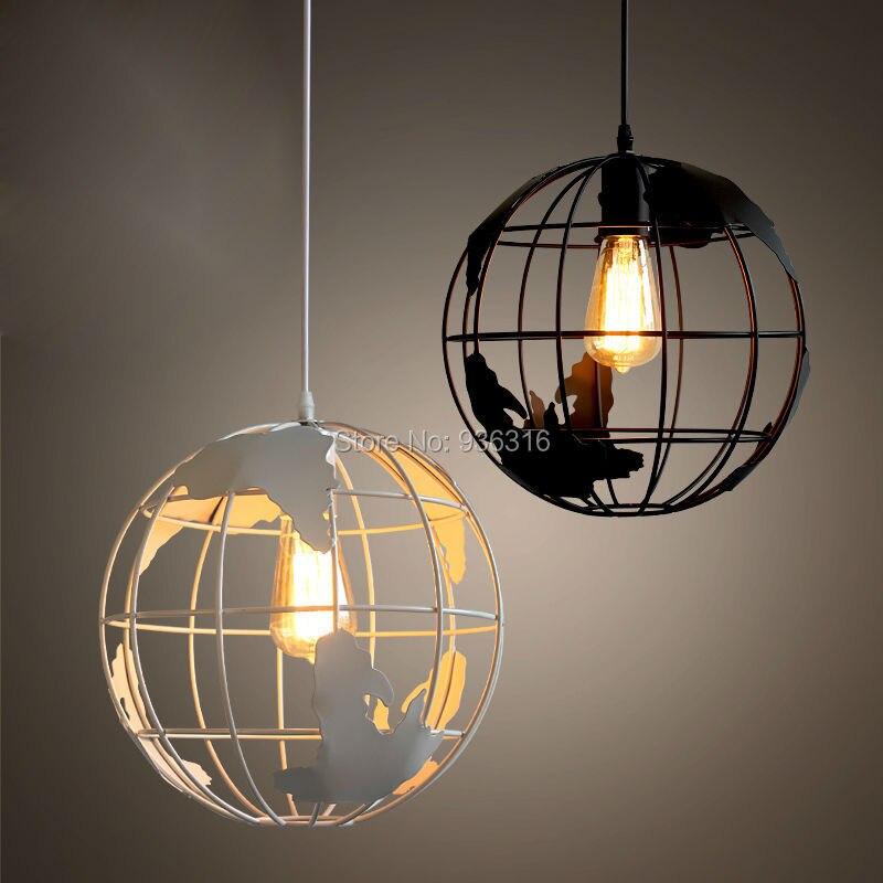 Lampes suspendues modernes de salon de la terre mondiale luminaires à la maison de luminaire de suspension de Restaurant ampoules E27 de couleur noire et blanche