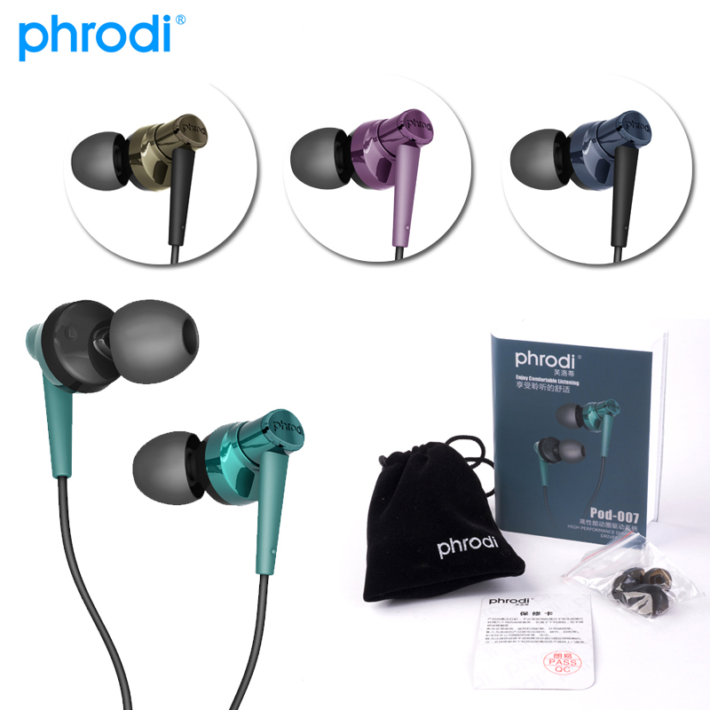 Phrodi Pod-007 Metal HiFi Headphones Noise Isolate Earbud Sports Super Clean Wired Bass Earphone for Iphone Xiaomi PC phrodi pod600 original in ear bass earbud headphones hifi high quality noise canceling earphones with microphone for xiaomi ios
